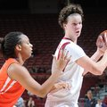 NWA MEDIA/SAMANTHA BAKER -- Arkansas' Sarah Watkins right, moves around the outside of Keitra Wallac...