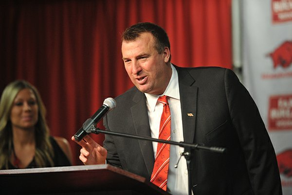 NWA Media/MICHAEL WOODS --12/05/2012-- Bret Bielema, the new University of Arkansas head football coach, speaks to the media during a press conference Wednesday afternoon.