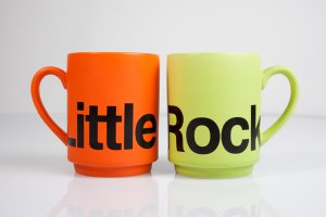 A set of vibrant Little Rock mugs is perfect for a couple's morning cup of Joe. Little Rock mug, $11.95 each at Clinton Museum Store, downtown Little Rock.