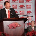 Bret Bielema speaks Wednesday during a news conference to announce his hire as the University of Ark...