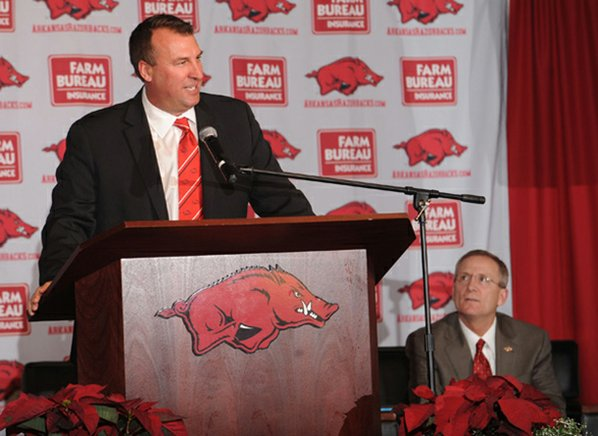 Bret Bielema speaks Wednesday during ...