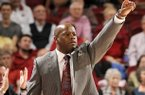 NWA Media/ANTHONY REYES -- Arkansas head coach Mike Anderson calls a defensive formation against Oklahoma in the second half Tuesday, Dec. 4, 2012 at Bud Walton Arena in Fayetteville. The Razorbacks won 81-78.