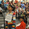 Swetha Sirigineedi answers a question during the Kirksey Middle School Geography Bee held Wednesday ...