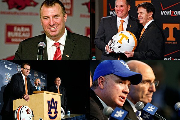 Clockwise: Bret Bielema (Arkansas), Butch Jones (Tennessee), Mark Stoops (Kentucky) and Gus Malzahn (Auburn) were hired to SEC programs this off-season.