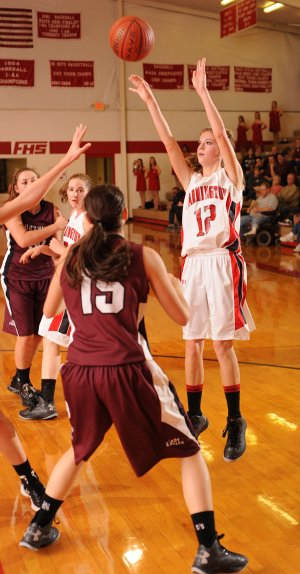 Haley Maxwell, Farmington, shoots Friday over Huntsville junior guard Vanessa Burgess at Farmington High School.
