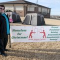 Everett Coonfield stands outside his tents Thursday on the lawn of First Assembly of God in Springda...