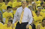 Michigan head coach John Beilein watches from the sidelines during the first half of an NCAA college basketball game against Arkansas in Ann Arbor, Mich., Saturday, Dec. 8, 2012. (AP Photo/Carlos Osorio)