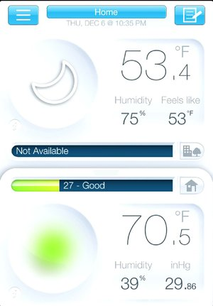 Netatmo's Urban Weather Station includes a free app for Apple iOS or Android that lets you see readouts from your weather station anywhere.