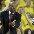 Arkansas head coach Mike Anderson argues a call during the first half of an NCAA college basketball ...