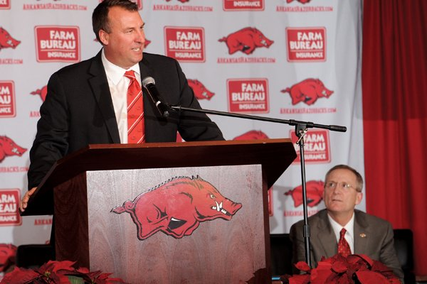 Bret Bielema was announced as Arkansas' new head football coach on Dec. 5.