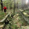 Scott checks out a stone house foundation at what's known as the Hale Place. A rerouted section of t...
