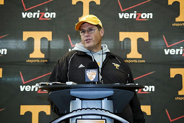 Jim Chaney, who spent the last four seasons at Tennessee, was named Arkansas' offensive coordinator on Wednesday.