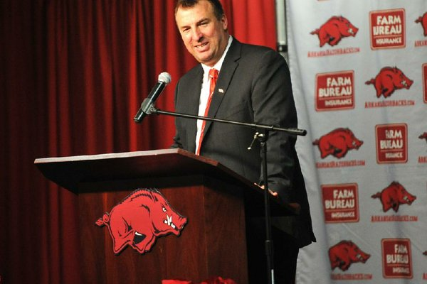 NWA Media/MICHAEL WOODS  --12/05/2012--  Bret Bielema, the new University of Arkansas head football coach speaks to the media during a press conference Wednesday afternoon at the University of Arkansas after the announcement of his hire.