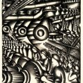 "Jolan Gross-Bettelheim's ""Assembly Line (Home Front),"" from 1942, illustrates lithograph printing in..."