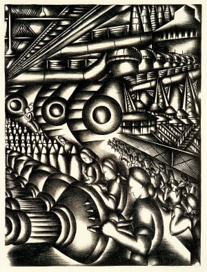 "Jolan Gross-Bettelheim's ""Assembly Line (Home Front),"" from 1942, illustrates lithograph printing in ""Art Under Pressure."""