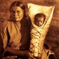 Comanche mother and her baby were photographed by Curtis. Although he was shooting at the turn of th...