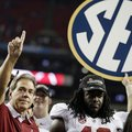 Alabama head coach Nick Saban and running back Eddie Lacy after their 32-28 win in the Southeastern ...