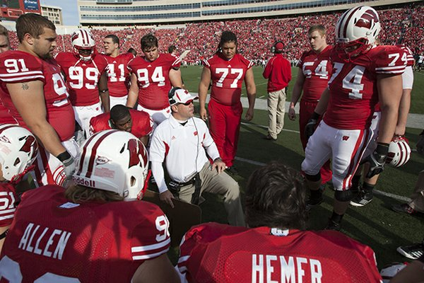 Wisconsin co-defensive coordinator Charlie Partridge, pictured in this 2011 photo, will join Arkansas as defensive line coach following the Rose Bowl.