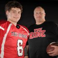Tony Travis, right, Pea Ridge coach, and quarterback Dayton Winn helped the Blackhawks win their fir...
