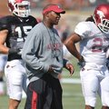Paul Haynes, pictured in this October practice in Fayetteville, was named head coach at Kent State o...