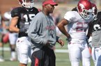 Paul Haynes, pictured in this October practice in Fayetteville, was named head coach at Kent State on Tuesday.