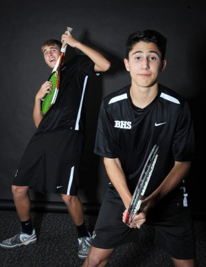 Jordan Sheppard, right, and Michael Morse of Bentonville are the NWA Media doubles players of the year.