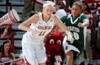 NWA Media/ANTHONY REYES -- Arkansas sophomore Calli Berna (11) steals the ball from Mississippi Valley State senior Lenise Stallings (20) in the first half Wednesday, Dec. 19, 2012 at Bud Walton Arena in Fayetteville.