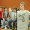 Max Stephenson, a fifth-grader at Washington Elementary School in Fayetteville, reacts Wednesday to ...