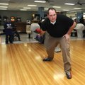 Staff Sgt. Olin Rankin with the Benton County Sheriff's Office bowls Wednesday at the Rogers Bowling...