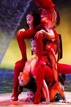 Cirque du Soleil dancers perform amazing acts of limberness in the musical spectacle Worlds Away 3D.