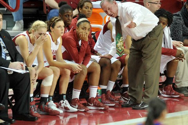 Arkansas women's Coach Tom Collen talks with his team during the first half of Friday's game against Northwestern State at Walton Arena in Fayetteville. Arkansas won 80-41.
