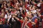 Fans call the hogs during the second half Saturday night at Verizon Arena in North Little Rock.