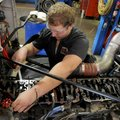 Corbin Hulsizer adjusts the lifters on a diesel engine Dec. 12 at Northwest Technical Institute in S...