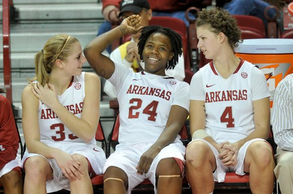 Arkansas players Melissa Wolf, Quistelle ...