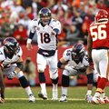 Denver Broncos quarterback Peyton Manning (18) in his 14th NFL season, every game as a starter, he l...