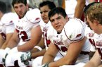 Arkansas center Jonathan Luigs looks toward the scoreboard during the fourth quarter against Texas Saturday, Sept. 27, 2008, at Darrell K Royal-Texas Memorial Stadium in Austin.