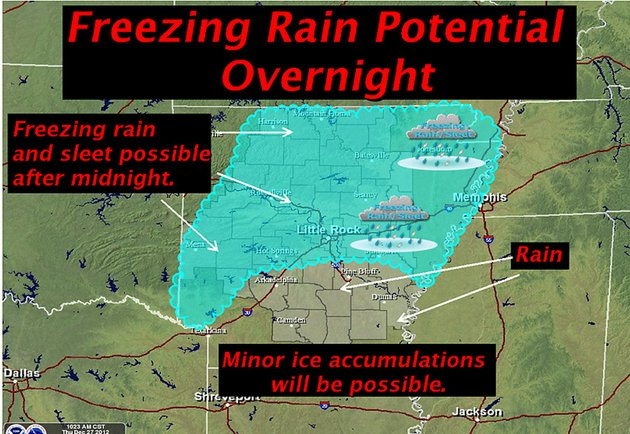 the-national-weather-service-in-little-rock-said-thursday-dec-27-2012-that-freezing-rain-and-sleet-was-possible-past-midnight-for-a-large-swath-of-the-state