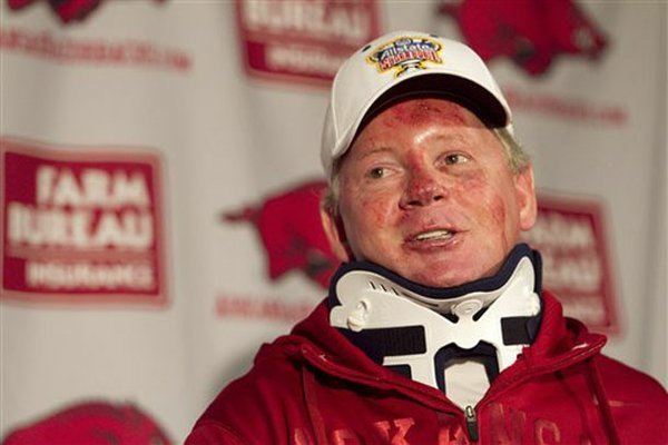 Arkansas football coach Bobby Petrino speaks during a news conference in Fayetteville on Tuesday, April 3, 2012, after being released from a hospital.
