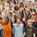 Asbell Elementary School kindergarten students, from left, Brylan Sims, Marc Franklin and Joshua Har...