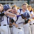 Fayetteville's Brittany Hoskins, center, is mobbed at the plate Thursday, March 15, 2012, after hitt...