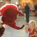 Lexa Smith, 3, of Fayetteville gets a high-five from Sue E., one of the University of Arkansas masco...