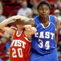 Lexus WIlliams of North Little Rock holds back Suzie Gresham of Spring Hill during a free throw duri...