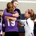 From left, Fayetteville seniors Paige Gocke, Hannah Pinter and Andrea Kathol celebrate following the...