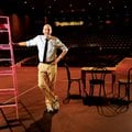 Warren Rosenaur, longtime Fayetteville High School drama instructor, shows off the new auditorium, w...