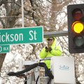 Kevin Hanson, a traffic signal technician with Fayetteville's Transportation Division, uses a drill ...