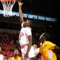 Fred Gulley III, a University of Arkansas junior, puts up a shot during the second half against Alco...