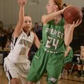 Bentonville's Brooke Maebus, left, pressures Pierce City (Mo.) guard Emily Ashley during the Lady Ti...