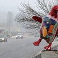Traffic creeps Friday through the snow past the Penguin Ed's statue at the corner of Mission and Cro...
