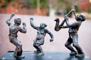 "a statue by Bryan massey, titled ""the jazz player,"" is similar to one that was taken in November."