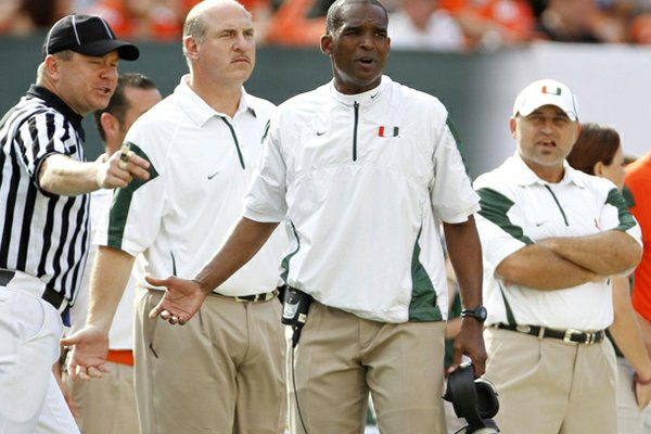 Arkansas hired former Miami head coach Randy Shannon away from TCU to become the Razorbacks' linebackers coach.